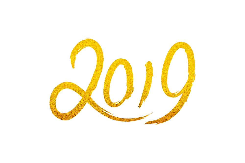 2019 in flowing script, glittery gold color.