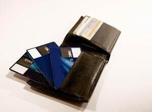 Leather Waller with Credit Cards on it